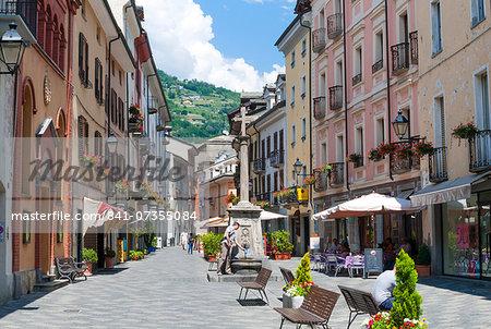 Croix de Ville street, Aosta, Aosta Valley, Italian Alps, Italy, Europe