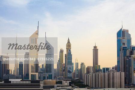 Dubai cityscape with Burj Khalifa and Emirates Towers, Dubai, United Arab Emirates, Middle East