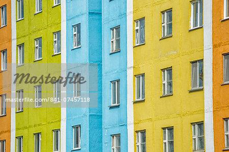 Coloured apartment houses, Siberian city Anadyr, Chukotka Province, Russian Far East, Eurasia
