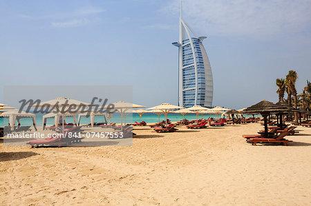 Burj Al Arab and Jumeirah beach, Dubai, United Arab Emirates, Middle East
