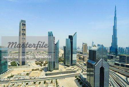 Burj Khalifa and city skyline, Dubai, United Arab Emirates, Middle East