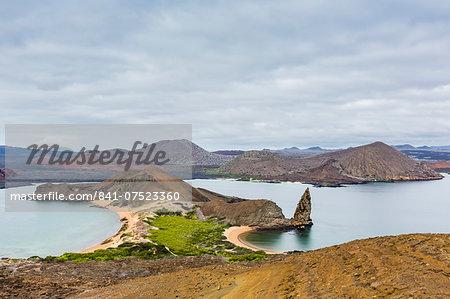 Pinnacle Rock on Bartolome Island, off Santiago Island, Galapagos Islands Group, UNESCO World Heritage Site, Ecuador, South America