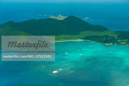Aerial of view Lord Howe Island, UNESCO World Heritage Site, Australia, Tasman Sea, Pacific