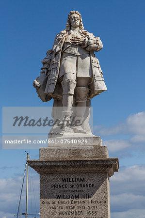 William III statue, Brixham, Devon, England, United Kingdom, Europe