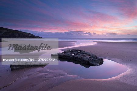 Beautiful autumn sunset above Dunraven Bay, Southerndown, Glamorgan Heritage Coast, Wales, United Kingdom, Europe