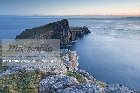 Neist Point lighthouse on the north-west coast of the Isle of Skye, Inner Hebrides, Scotland, United Kingdom, Europe