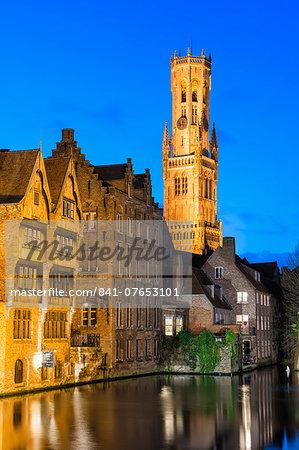 Belfry at twilight, Historic center of Bruges, UNESCO World Heritage Site, Belgium, Europe