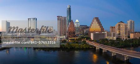 City skyline viewed across the Colorado river, Austin, Texas, United States of America, North America