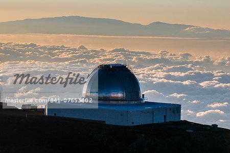 Observatory on Mauna Kea at sunset, Big Island, Hawaii, United States of America, Pacific