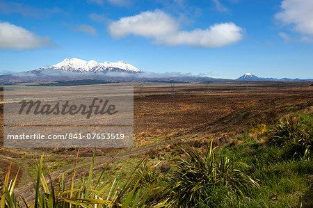 Mount Ruapehu and Mount Ngauruhoe viewed from Highway 1 Desert Road, Tongariro National Park, UNESCO World Heritage Site, North Island, New Zealand, Pacific