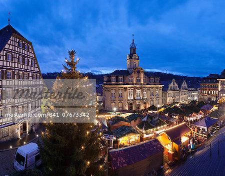 Christmas fair, town hall, market place, Schwaebisch Hall, Hohenlohe, Baden Wurttemberg, Germany