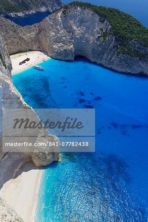 Navagio Beach and shipwreck at Smugglers Cove on the coast of Zakynthos, Ionian Islands, Greek Islands, Greece, Europe