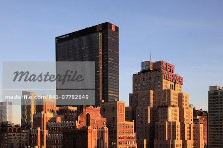 Madison Square Garden on left, New Yorker Hotel, Midtown skyline, West Side, Manhattan, New York City, United States of America, North America