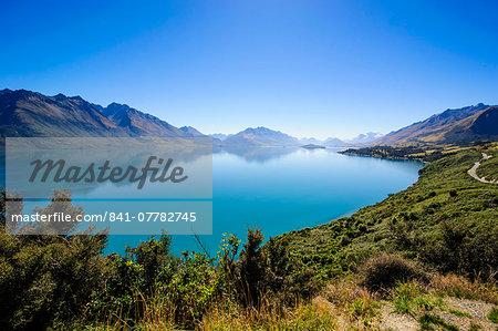 Turquoise water of Lake Wakatipu, around Queenstown, Otago, South Island, New Zealand, Pacific