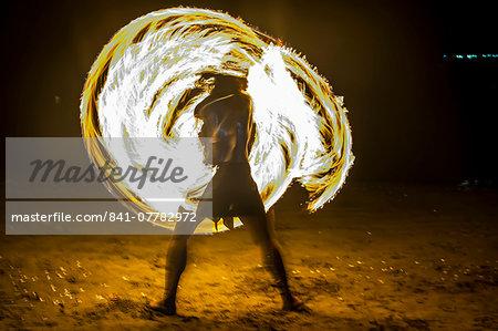 Traditional Firedance, Viti Levu, Fiji, South Pacific, Pacific