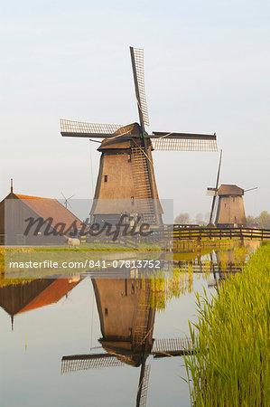 Windmills along a Canal, Schermerhorn, North Holland, Netherlands, Europe
