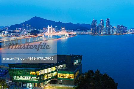 City skyline and Gwangang bridge, Busan, South Korea, Asia