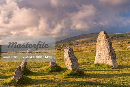 Megalithic standing stones, part of Merrivale stone row, Dartmoor, Devon, England, United Kingdom, Europe