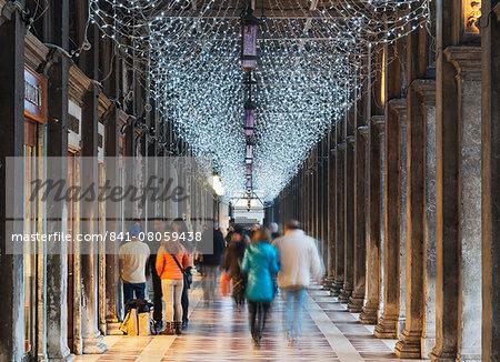 Christmas decorations, St. Marks Square, San Marco, Venice, UNESCO World Heritage Site, Veneto, Italy, Europe