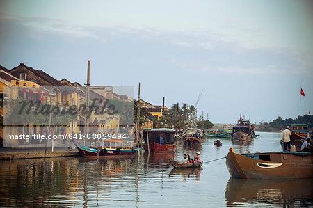Boats at the Thu Bon river, Hoi An, Vietnam, Indochina, Southeast Asia, Asia