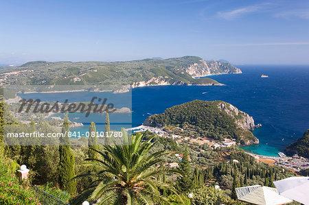 View over Liapades Bay from hilltop viewpoint near Lakones, Paleokastritsa, Corfu, Ionian Islands, Greek Islands, Greece, Europe