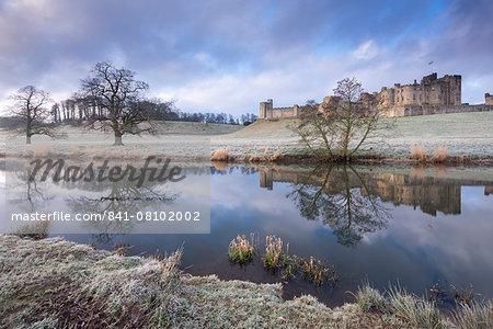 Alnwick Castle on a frosty winter morning, Alnwick, Northumberland, England, United Kingdom, Europe