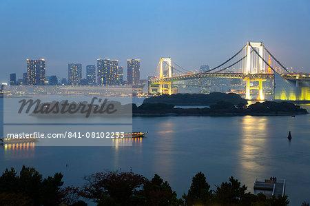 Rainbow Bridge from Odaiba, Tokyo, Japan, Asia