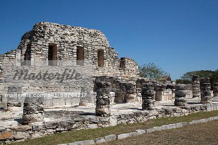 Templo de los Guerreros, Mayapan, Mayan archaeological site, Yucatan, Mexico, North America