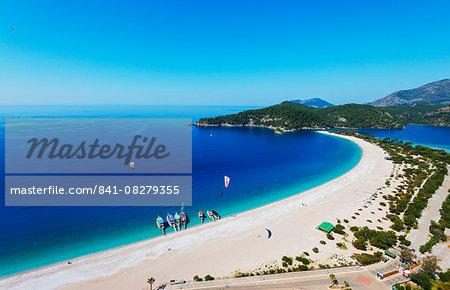 Blue Lagoon and Belcekiz beach, Oludeniz near Fethiye, Aegean Turquoise coast, Mediterranean region, Anatolia, Turkey, Asia Minor, Eurasia