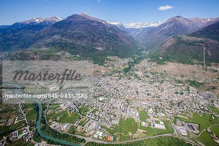 Aerial view of Sondrio and Bernina Group, Lower Valtellina, Lombardy, Italy, Europe