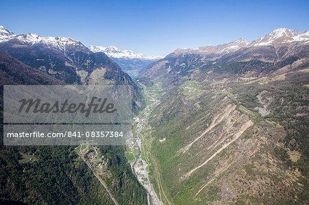 Aerial view of Poschiavo Valley, Graubunden (Grisons), Switzerland, Europe