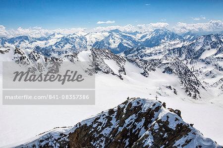 Aerial view of alpine skiers on Mount Dosegu, Stelvio National Park, Valtellina, Valfurva, Lombardy, Italy, Europe