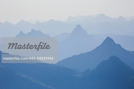Alps of central Switzerland, viewed from Pilatus, Swiss Alps, Switzerland, Europe