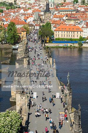 Tourists on Charles Bridge, UNESCO World Heritage Site, Prague, Czech Republic, Europe