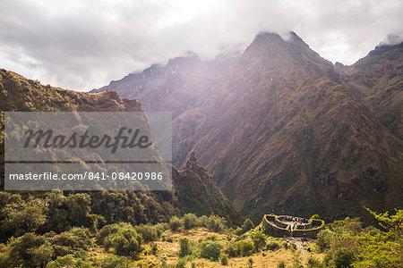 Inca ruins of a Tambo called Runkuraqay on Inca Trail Trek day 3, Cusco Region, Peru, South America