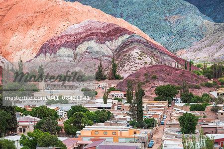 Purmamarca and the Hill of Seven Colours (Cerro de los Siete Colores), Quebrada de Purmamarca, Jujuy Province, North Argentina, South America
