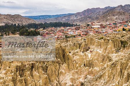 Valle de la Luna (Valley of the Moon) and houses of the city of La Paz, La Paz Department, Bolivia, South America