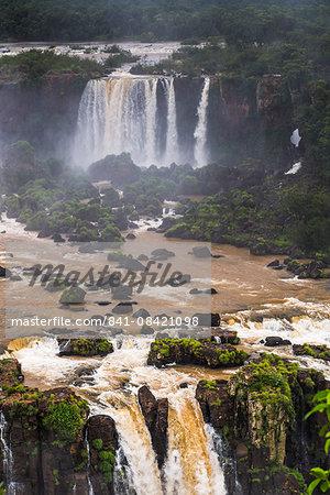 Iguazu Falls (Iguacu Falls) (Cataratas del Iguazu), UNESCO World Heritage Site, Argentinian side seen from the Brazilian side, border of Brazil Argentina and Paraguay, South America