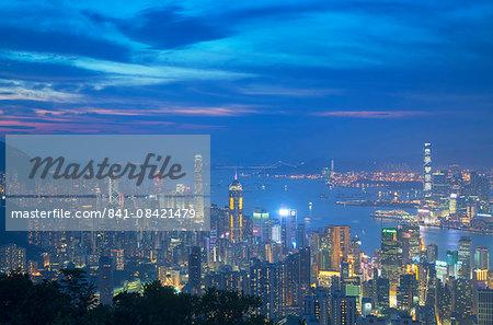 View of Hong Kong from Jardine's Lookout at sunset, Hong Kong, China, Asia
