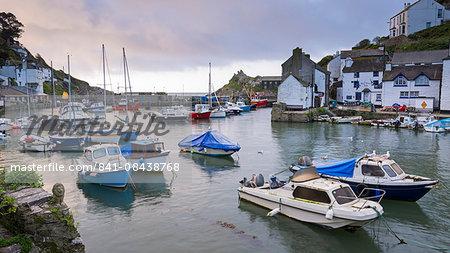 Boats in Polperro harbour, Cornwall, England, United Kingdom, Europe
