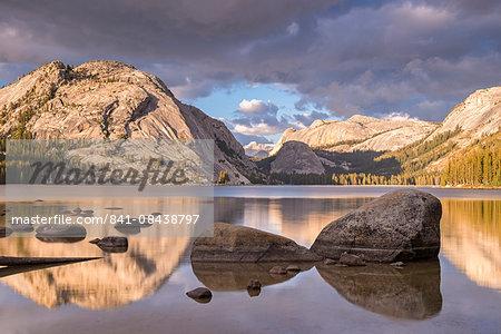 Granite mountains reflected in Tenaya Lake, Yosemite National Park, UNESCO World Heritage Site, California, United States of America, North America