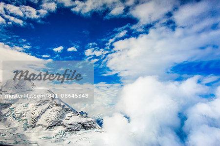 Aerial view of Glacier Peak on Fox Glacier, South Island, New Zealand, Pacific
