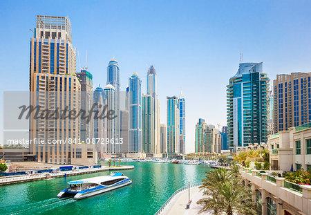 Dubai Marina skyline and harbour, Dubai City, United Arab Emirates, Middle East