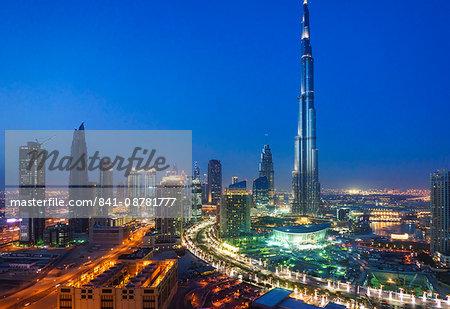 Burj Khalifa and Downtown Dubai at night, Dubai, United Arab Emirates, Middle East