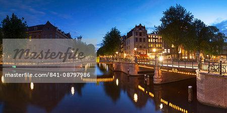 Prinsengracht canal at dusk, Amsterdam, Netherlands, Europe