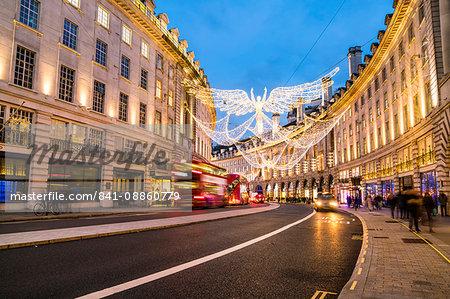 Festive Christmas lights in Regent Street in 2016, London, England, United Kingdom, Europe