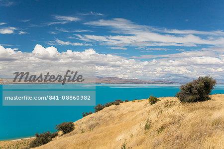 View across the turquoise waters of Lake Pukaki, near Twizel, Mackenzie district, Canterbury, South Island, New Zealand, Pacific