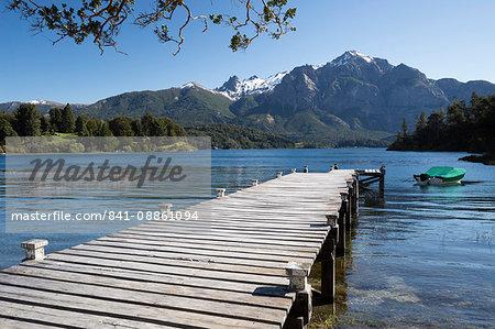 Pier and Andes on Lago Perito Moreno, Llao Llao, near Bariloche, Nahuel Huapi National Park, Lake District, Argentina, South America