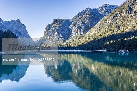 Lago di Dobbiaco (Toblacher See) in the Italian Dolomites, South Tyrol, Italy, Europe