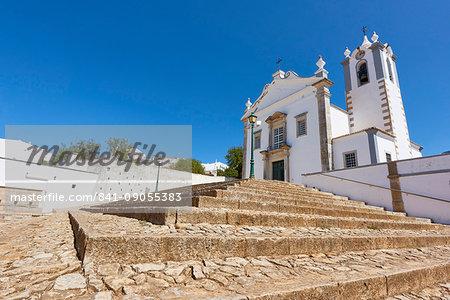Wide angle shot of Matriz Church of Estoi, Algarve, Portugal, Europe